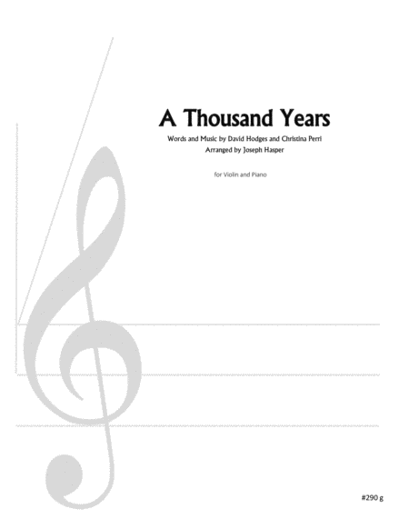 Download A Thousand Years (Violin And Piano) Sheet Music