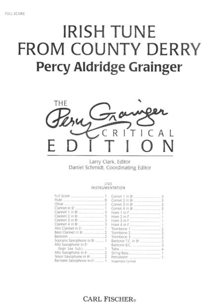 Irish Tune From County Derry Sheet Music By Percy Aldridge