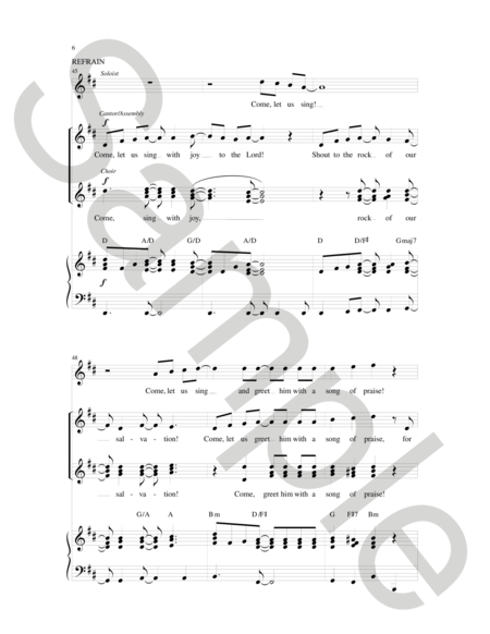 Come, Let Us Sing With Joy To The Lord Sheet Music By Paul