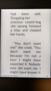 A sample of my favorite font and margin settings on my Kindle
