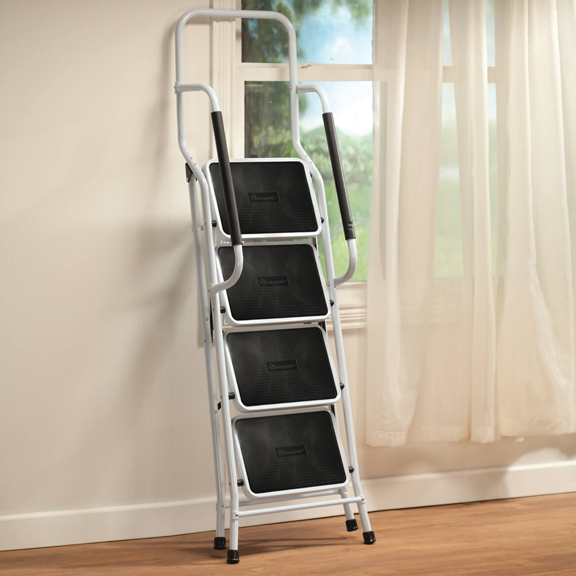 Folding 4 Step Ladder With Handrail And Side Rails   Folding Stairs With Handrails   Elderly   Hydraulic   Hand Rail   Aluminum   Interior