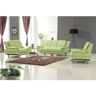 tribecca home eland black bonded leather sofa set dillards modern living room sets - overstock shopping the best ...