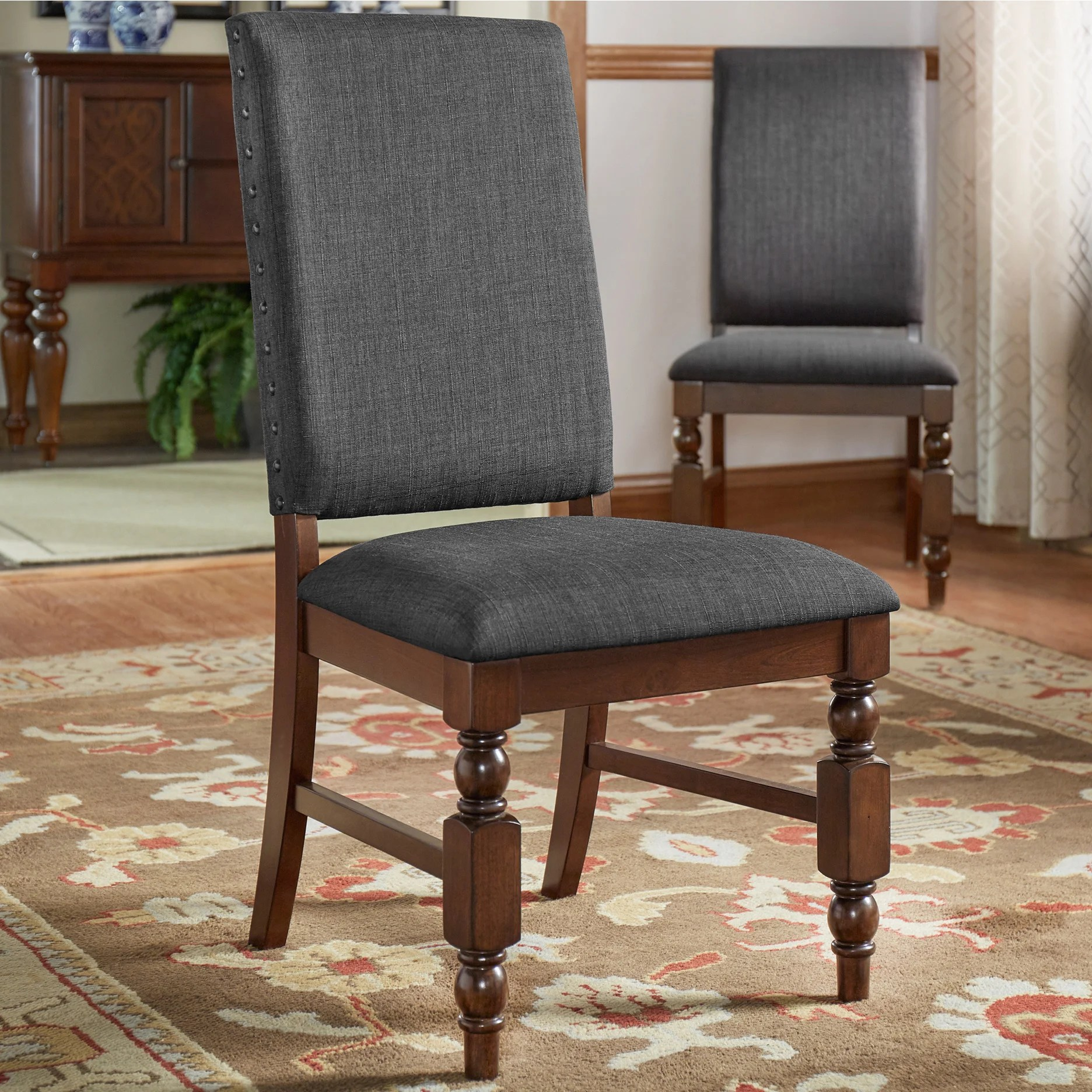 nailhead upholstered dining chair party rental chairs flatiron set of 2 by