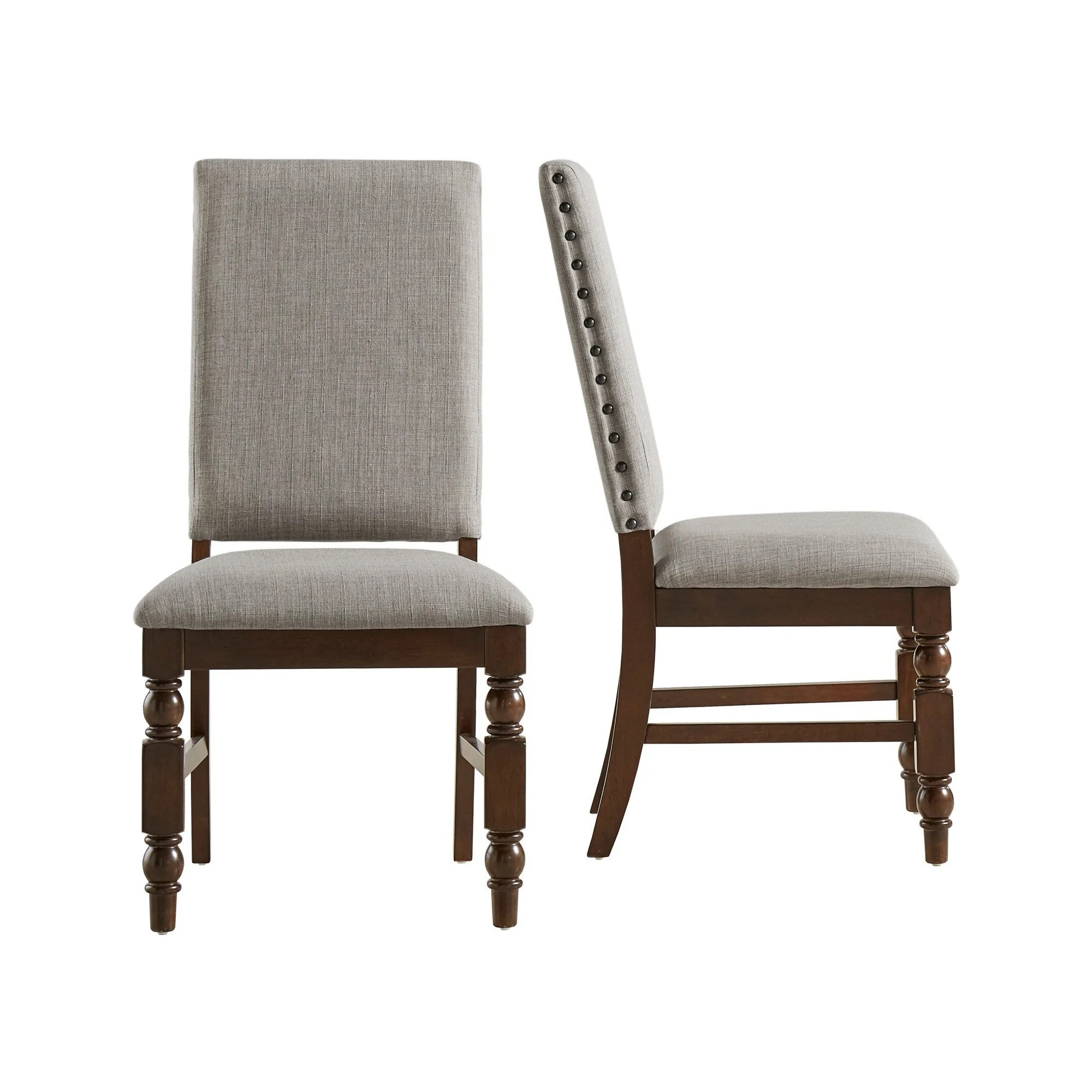 nailhead upholstered dining chair stretch sofa covers flatiron chairs set of 2 by