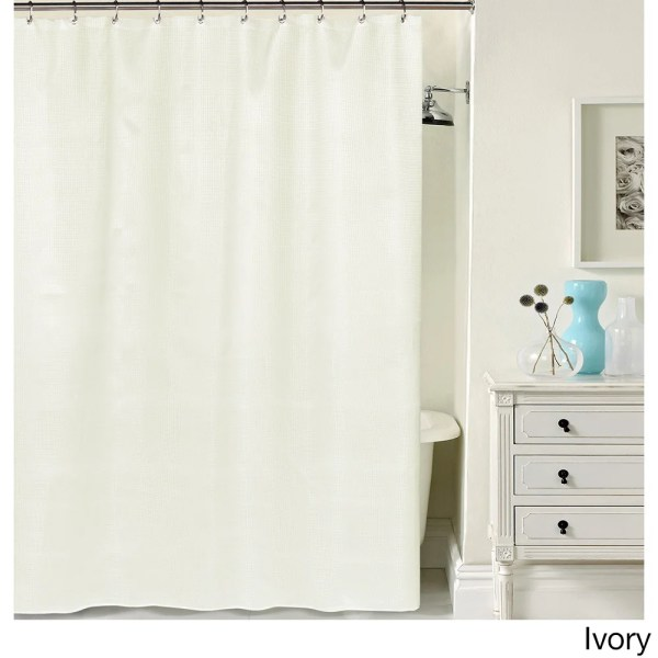 Hotel Quality Waffle Weave Fabric Shower Curtain 70 X 72