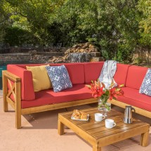 Brava Outdoor 4-piece Wood Sectional Set With Cushions