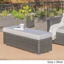 Santa Rosa Outdoor Wicker Bench With Cushion