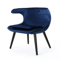 Hannalise Mid Century Modern Velvet Wing Accent Chair by ...
