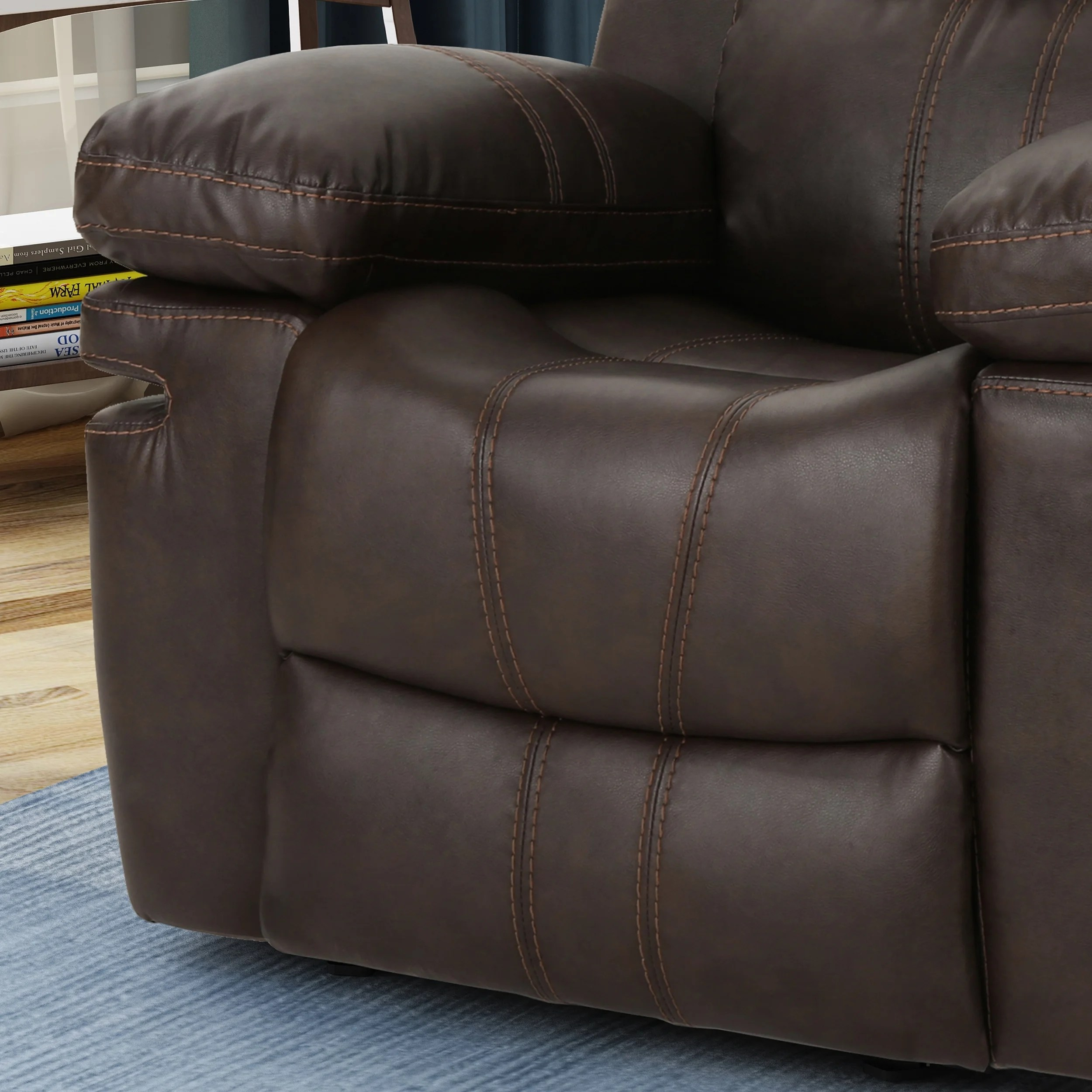 darvis leather recliner club chair brown christopher knight home outdoor canopy evelyna classic gliding by