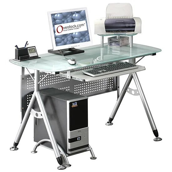Ergonomic Tempered Glasstop Computer Desk  Overstock