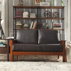 Mission Brown Leather Sofa Black Sofas Uk Hills Style Oak Loveseat By Inspire Q Classic Ebay