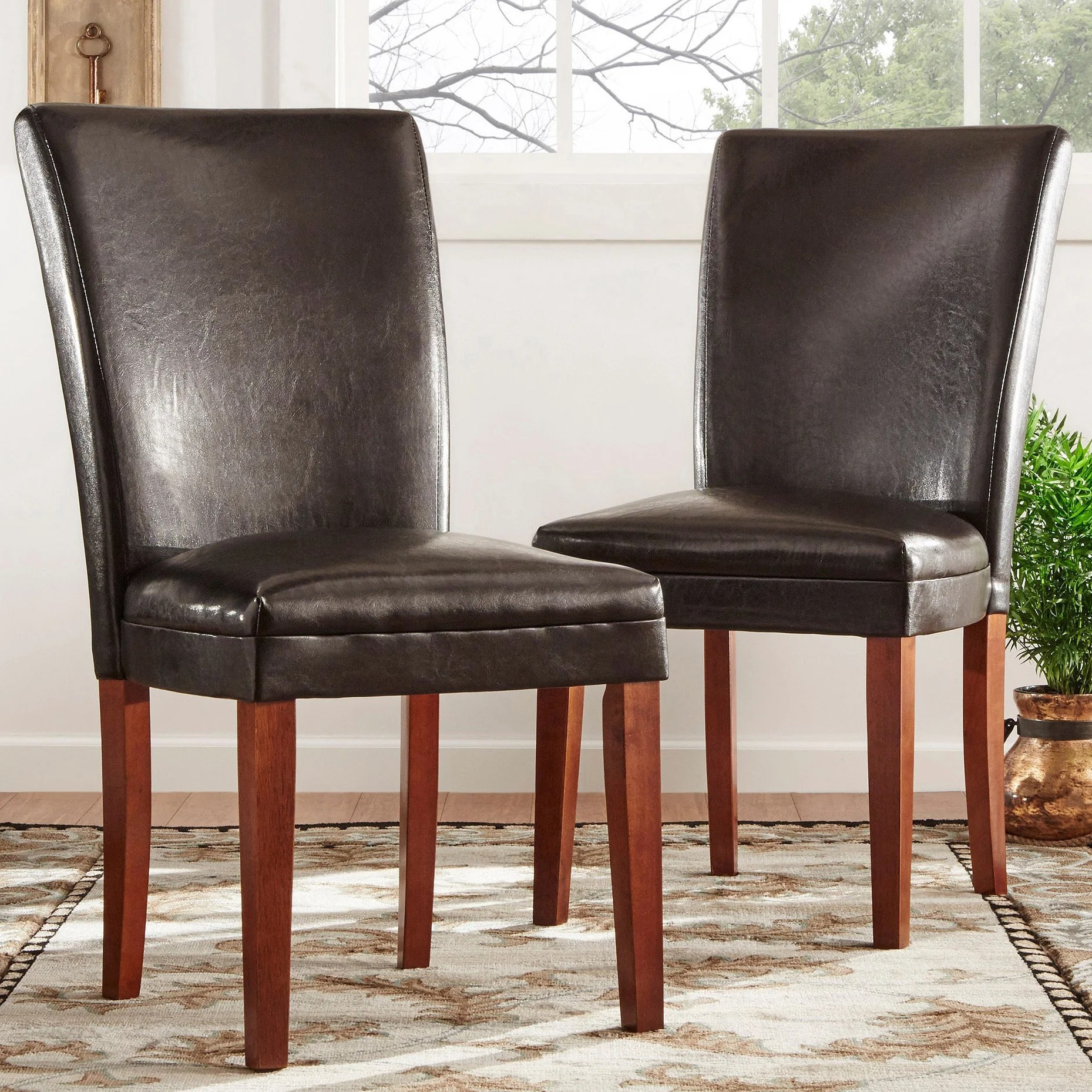 faux leather dining chairs chair design for terrace parson set of 2 by inspire q bold ebay