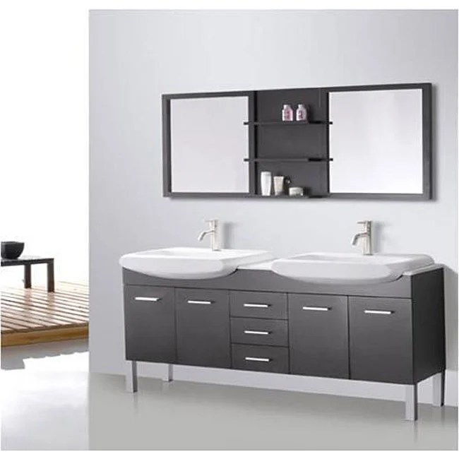 Design Element Tustin 72inch Double Sink and Mirror