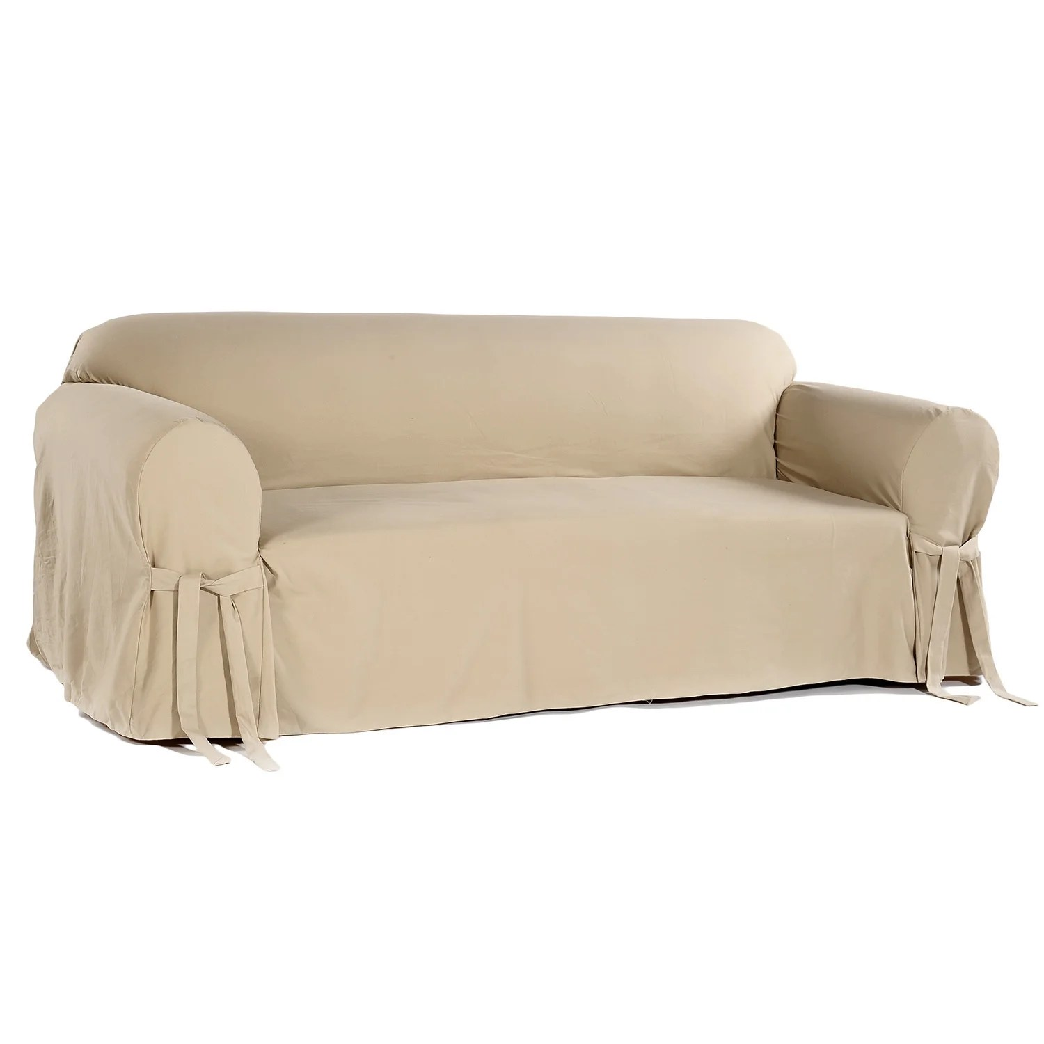 khaki sofa slipcovers reclining mage classic brushed twill slipcover ebay