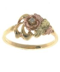 Black Hills Gold Diamond Rose Ring - Overstock Shopping ...