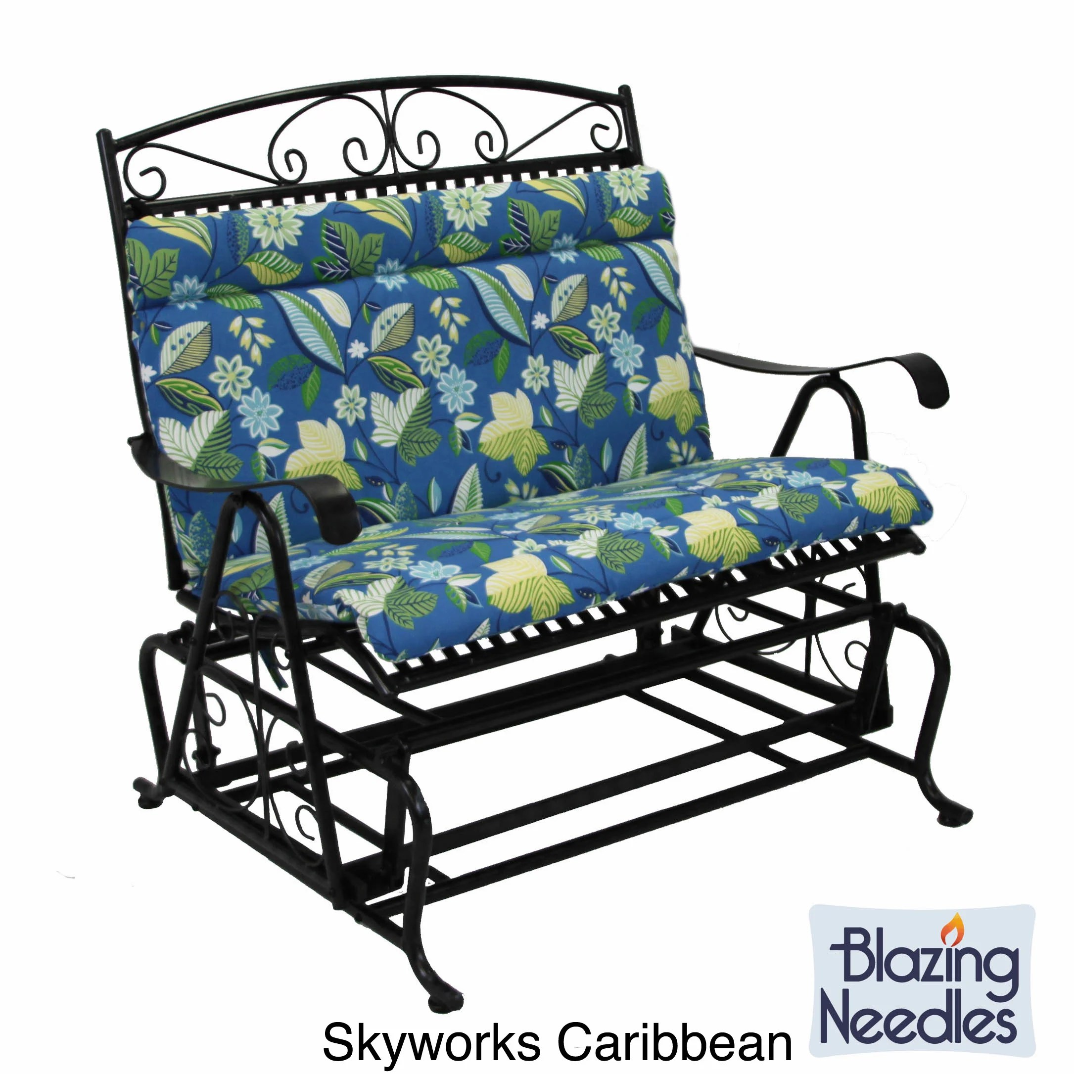 blue floral chair lift chairs for stairs all weather outdoor double glider