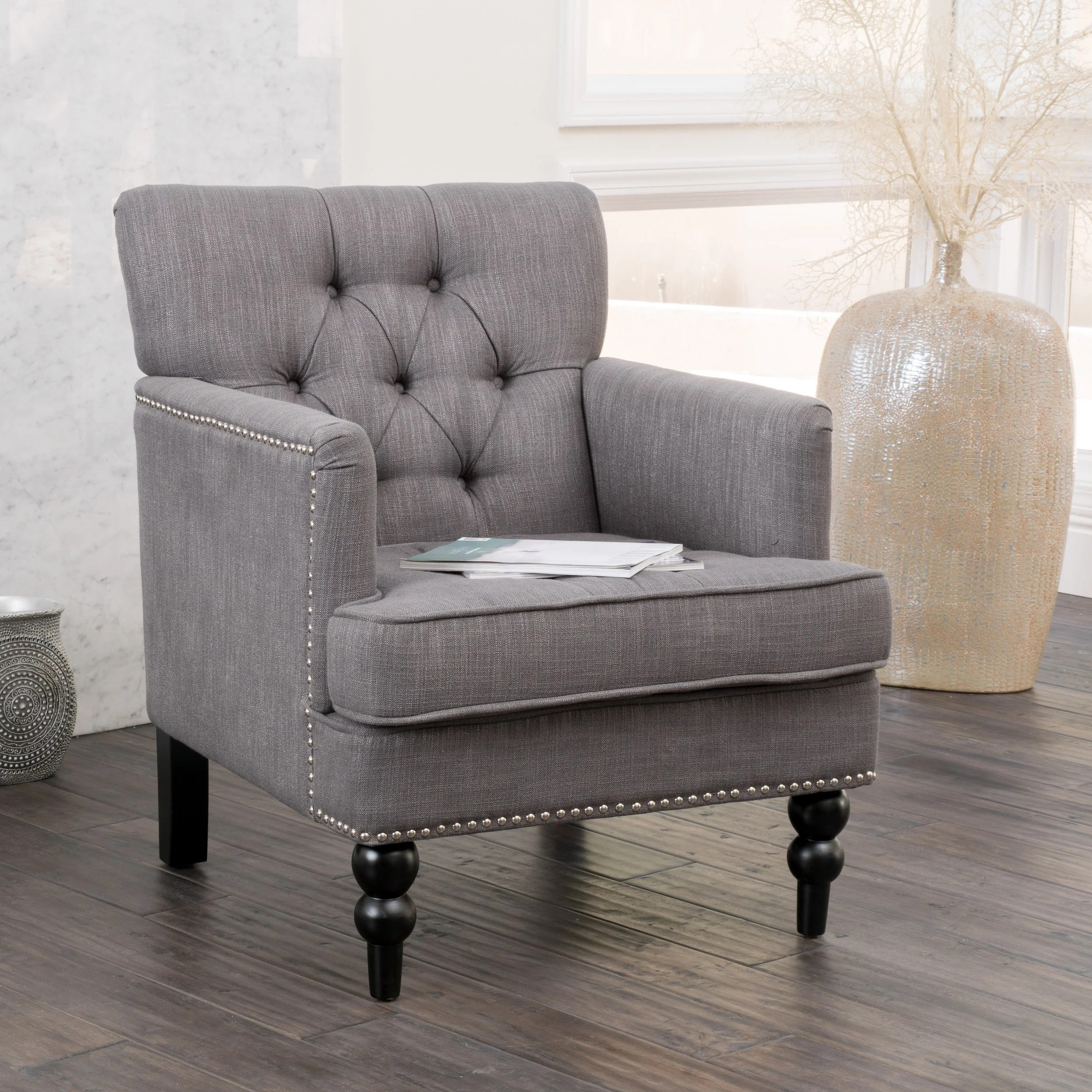overstock com chairs walmart folding christopher knight home malone charcoal grey club chair
