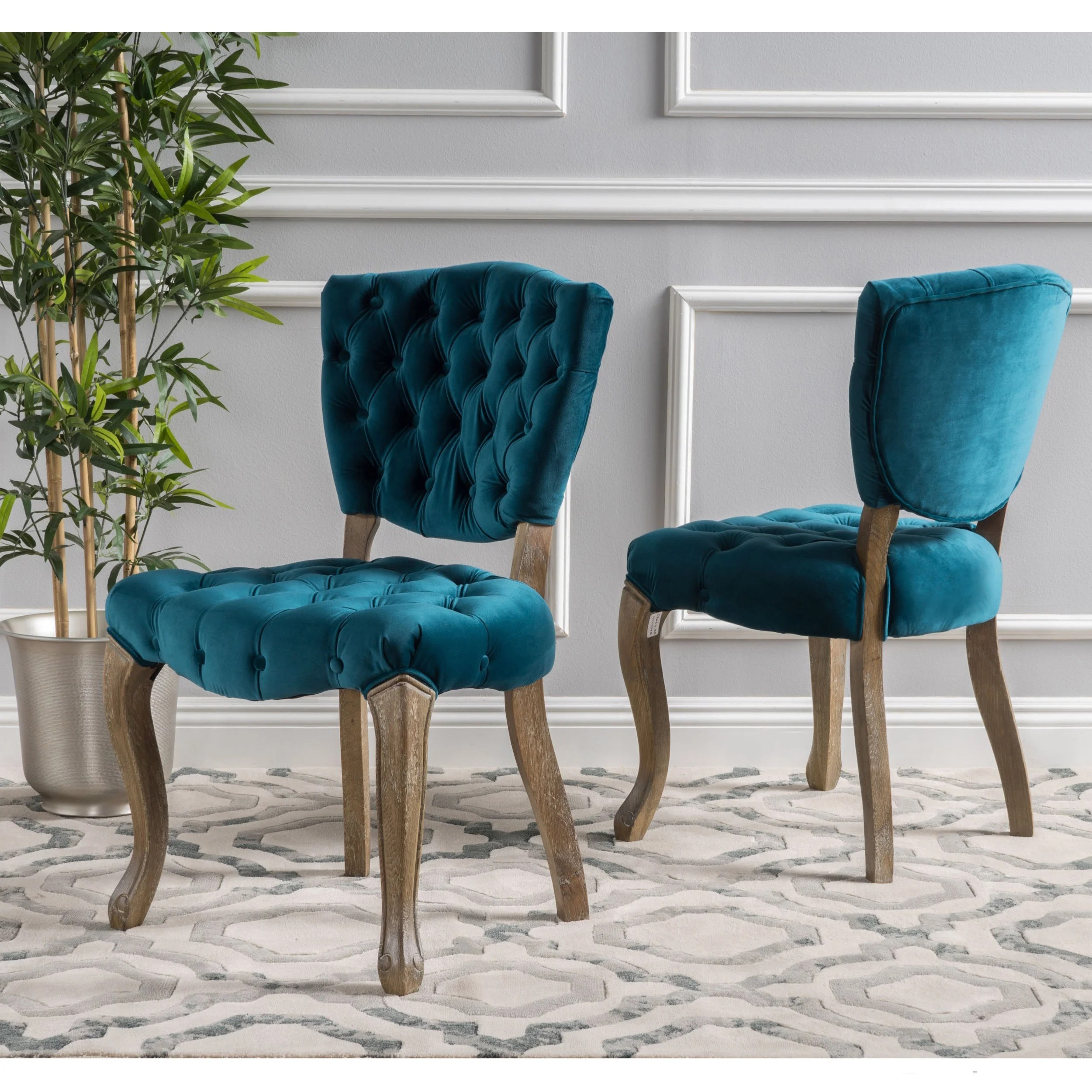 teal tufted chair darth vader toys r us bates grey fabric dining chairs set of 2 ebay