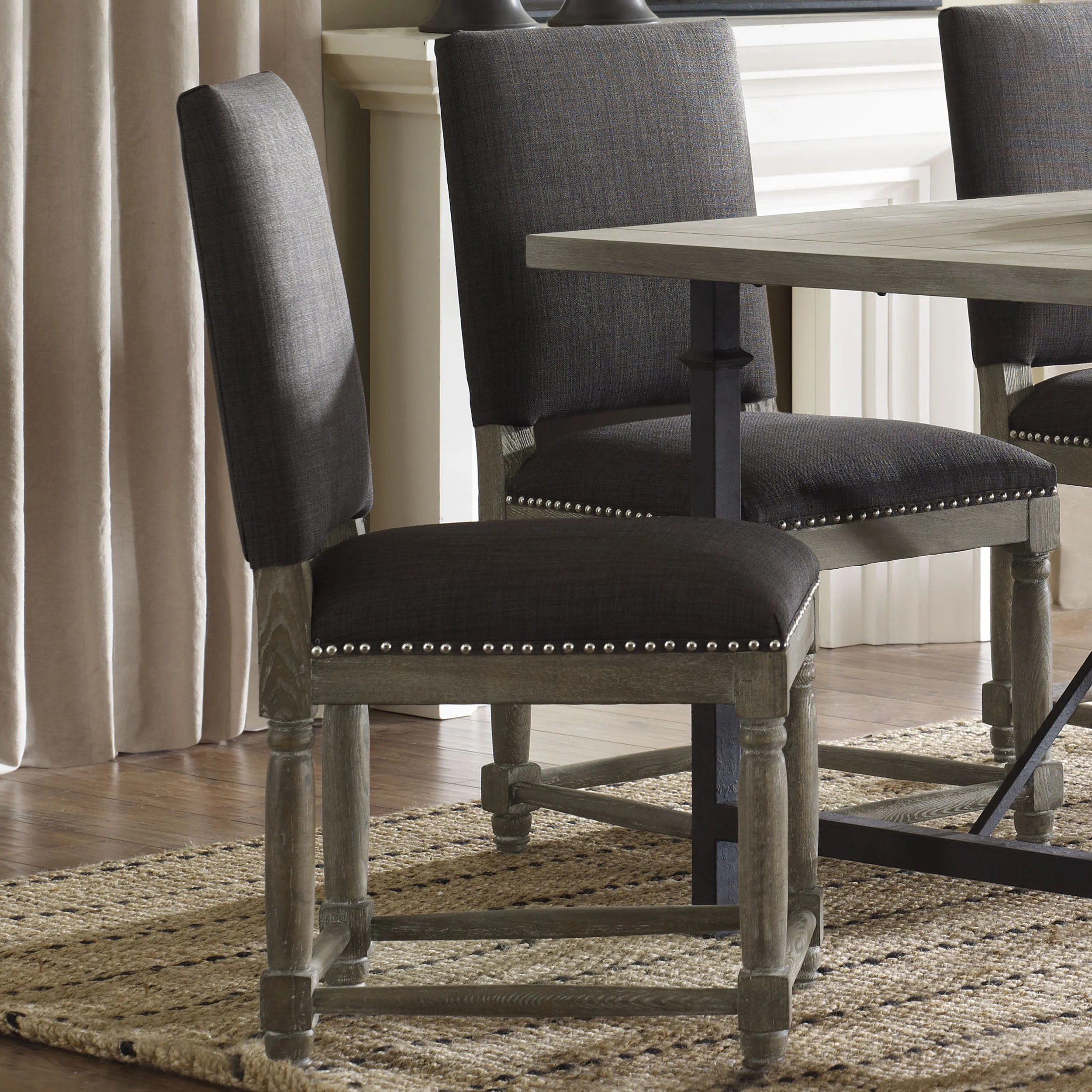Grey Wood Dining Chairs Classic Design Dinning Chairs Elegant Gray Rustic