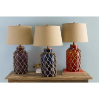 Nautical Glass and Burlap Table Lamp - Overstock Shopping ...