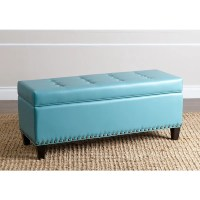ABBYSON LIVING Charles Turquoise Leather Nailhead Trim ...