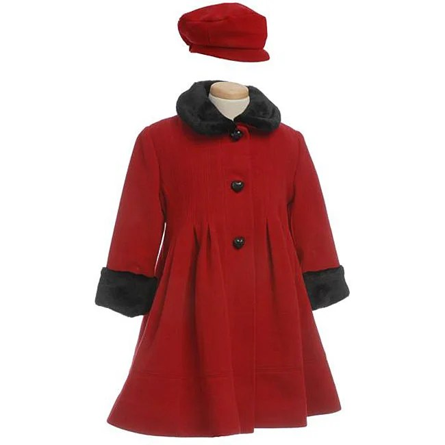 Rothschild Girl's Wool Pleated Coat With Faux Fur Trim