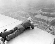 Construction worker building the St. Louis arch