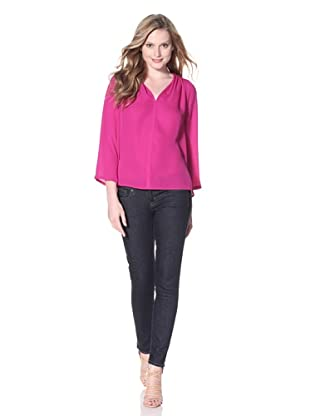 Halston Heritage Women's V-Neck Drapey Top (Bright Magenta)