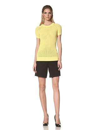 DEREK LAM Women's Pointelle Short Sleeve Sweater (Yellow)