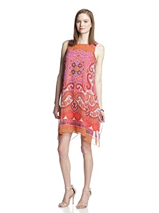 Muse Women's Trapeze Dress with Rhinestone Detail (Orange Multi)