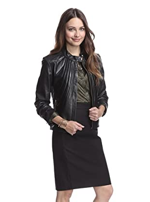 Badgley Mischka Women's Selma Leather Jacket with Flower Quilting (Black)