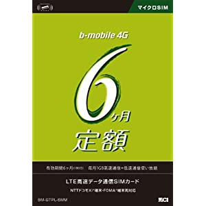 日本通信 bモバイル 6ヶ月定額SIMパッケージ(180日)
