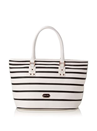 Folli Follie Women's Stripes Tote Bag, White