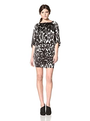 Jessica Simpson Women's Blouson Dress with Smocking (Cougar Black)