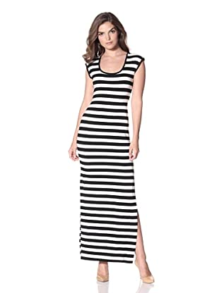 Nicole Miller Women's Fitted Maxi Dress with Keyhole Back (Black/White)