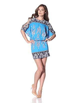 Nicole Miller Women's Charmeuse Blouson Dress (Cielo)