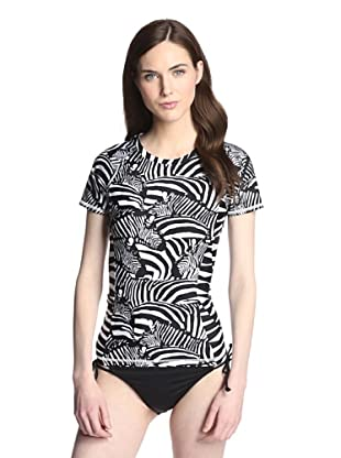 Trina Turk Women's Zebra Rash Guard (Black)