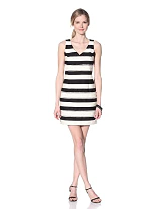 Taylor Women's Striped V-Neck Dress (Black/Cream)