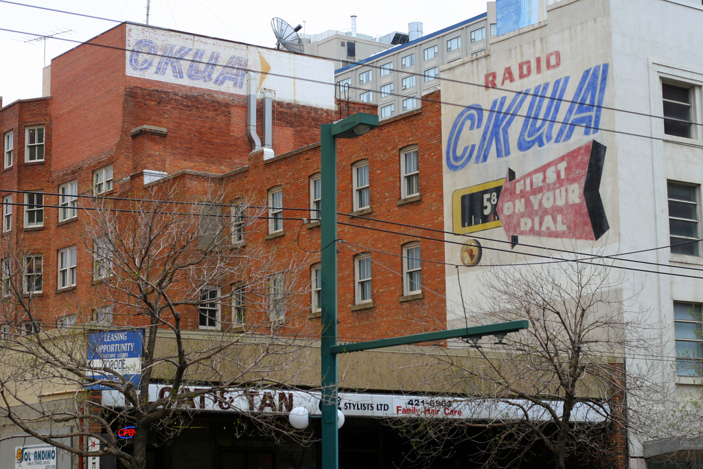 """Radio CKUA sign."" Photo by Flickr user Simon Law © May 19, 2007 Creative Commons License - https://flic.kr/p/LZmXF"