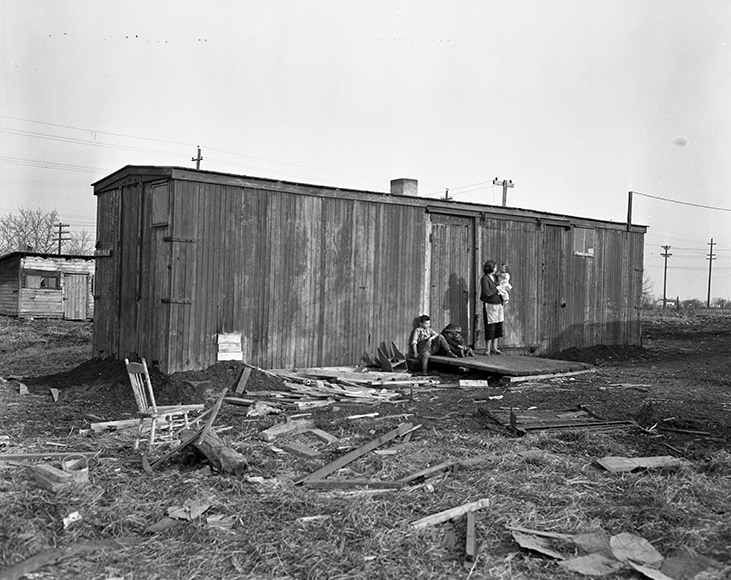 Family of Joseph Delorme live in boxcar dated November 7, 1949. Photographed by Eric Bland. Image courtesy of the City of Edmonton Archives EA-600-3246a.