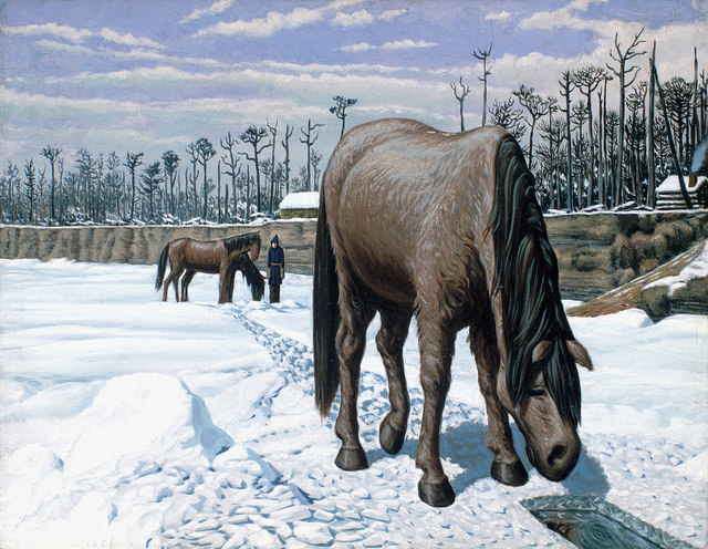 """""""A horse drinking at a hole in the ice/Un cheval s'abreuvant à même un trou dans la glace"""". Original art by William Hind c. 1863. William George Richardson Hind collection. Library and Archives Canada, C-013972. Creative Commons License - https://flic.kr/p/pe7Ari"""
