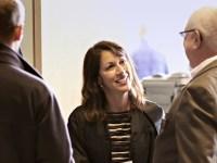 Barbara Weber mingles at the Ecampus graduation reception.