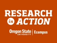 "White text on an orange background reads ""Research in Action, Oregon State University Ecampus"""