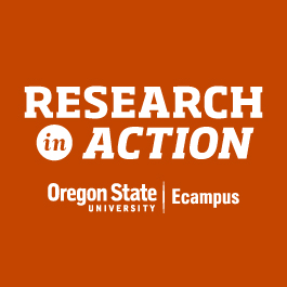 "White letters on an orange background read ""Research in action, Oregon State University Ecampus."""