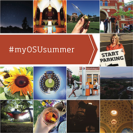 A collage of photos submitted to the summer session photo contest, including many shots of campus, mountainous landscapes, interesting architecture and more.