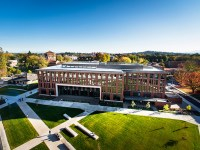 Aerial image of Austin Hall on the Oregon State University campus