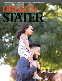 The cover of the Oregon Stater's winter 2018 issue features Ecampus computer science grad Albert Diaz and his daughter Kamryn, who is sitting on his shoulders.