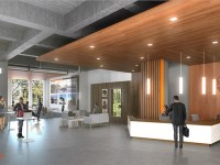 An artist's rendering of the lobby of the OSU Portland Center in the historic Meier & Frank Building. There is a welcome desk and a large open area with various tables and seating options. People are sitting and standing throughout.