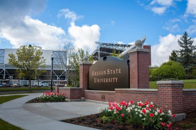 "A black sign with white lettering surrounded by a brick ledge and blooming flowers reads ""Oregon State University."""