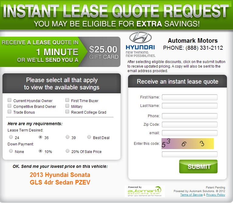 Instant Lease Quote Request
